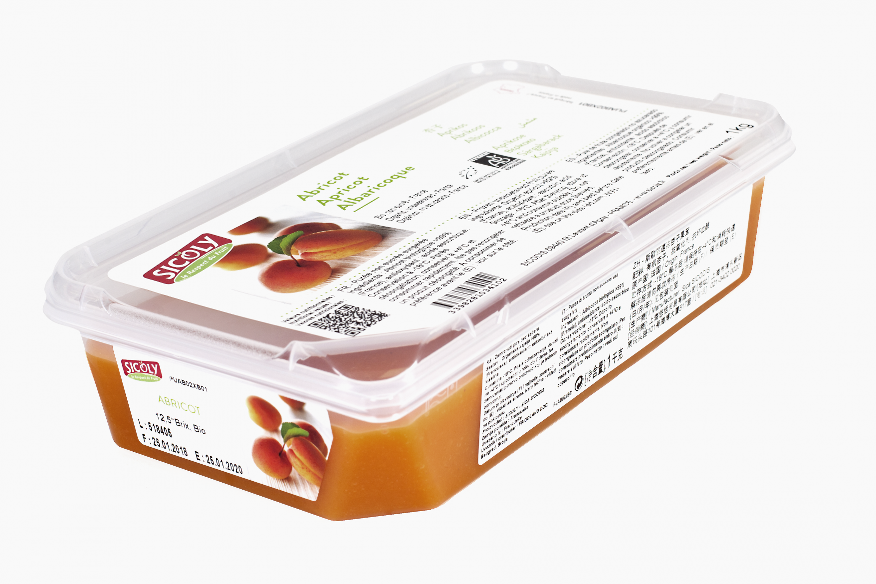 No added sugar frozen apricot purée - France