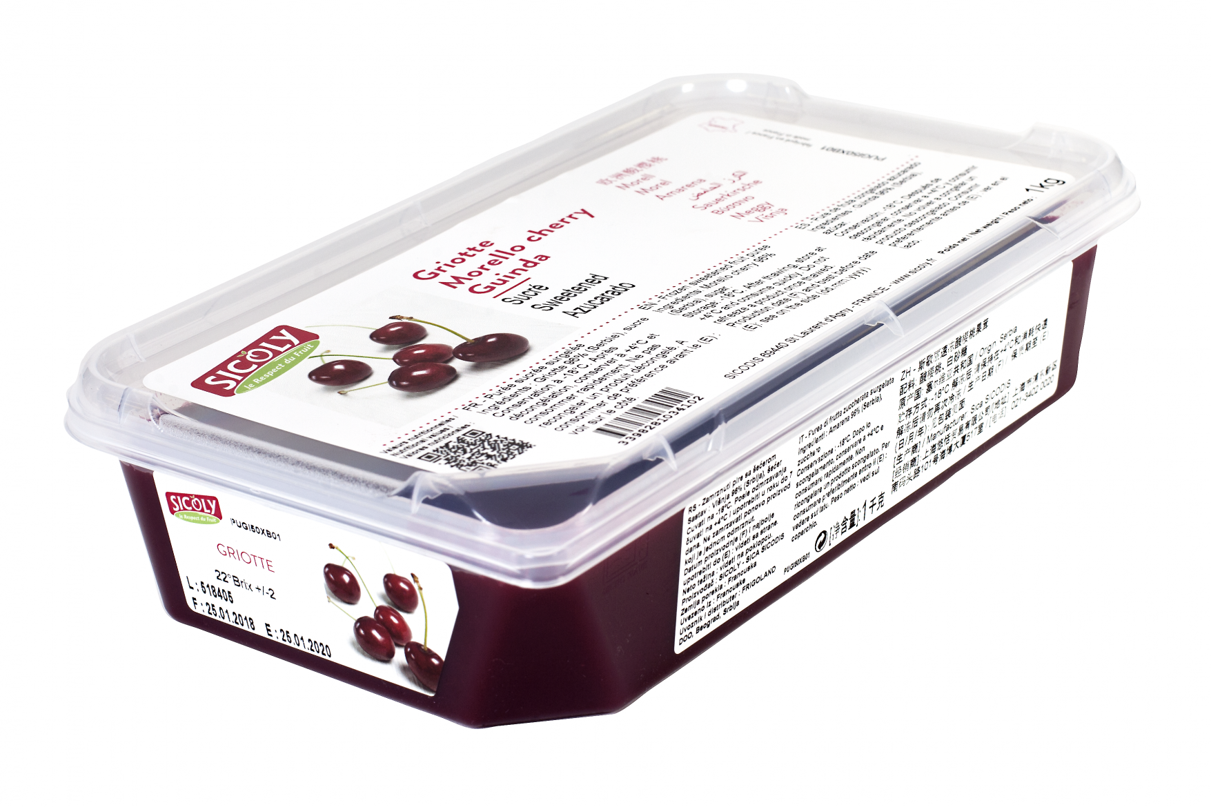 Sicoly product image No added sugar frozen morello cherry purée