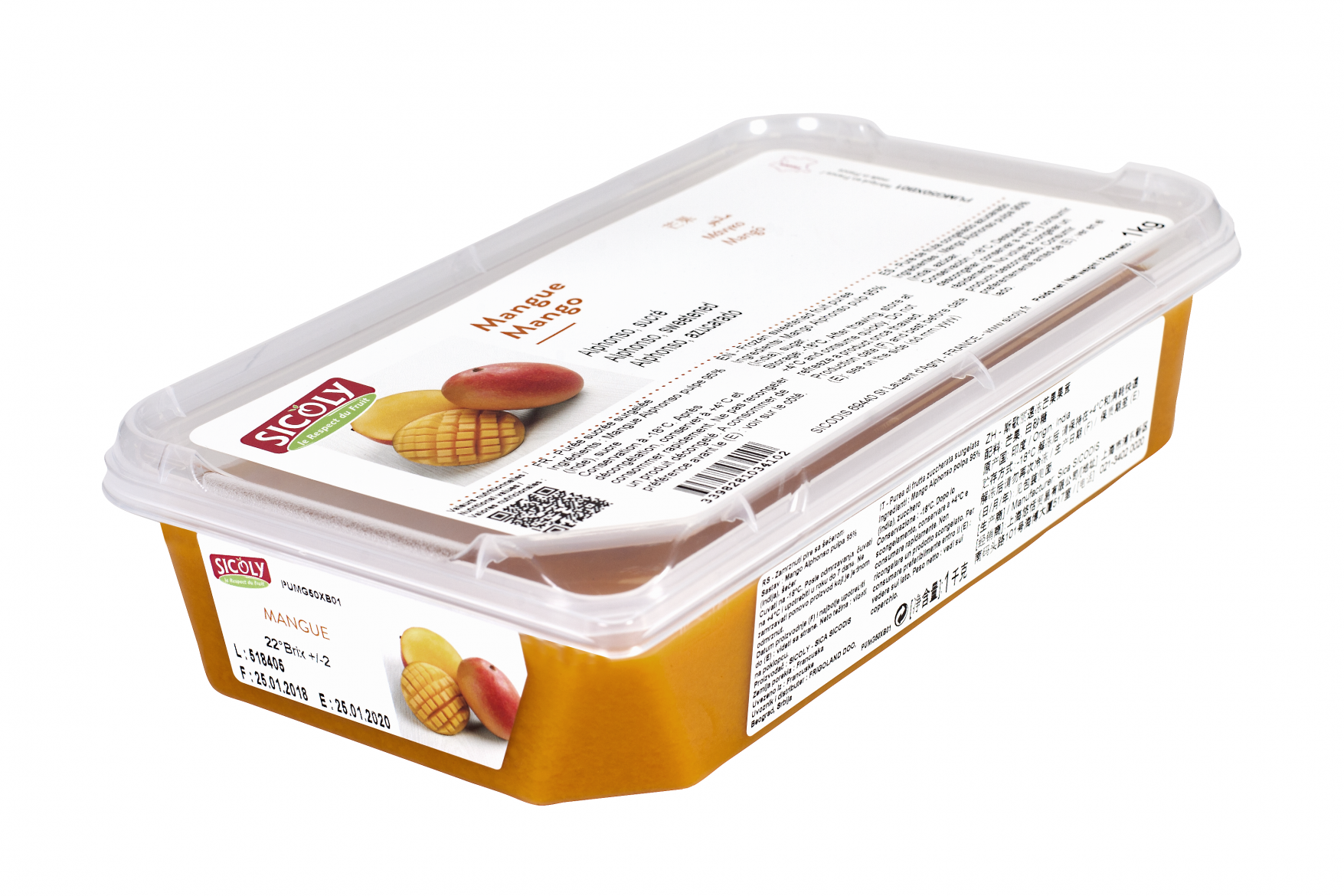 No added sugar frozen Alphonso mango purée