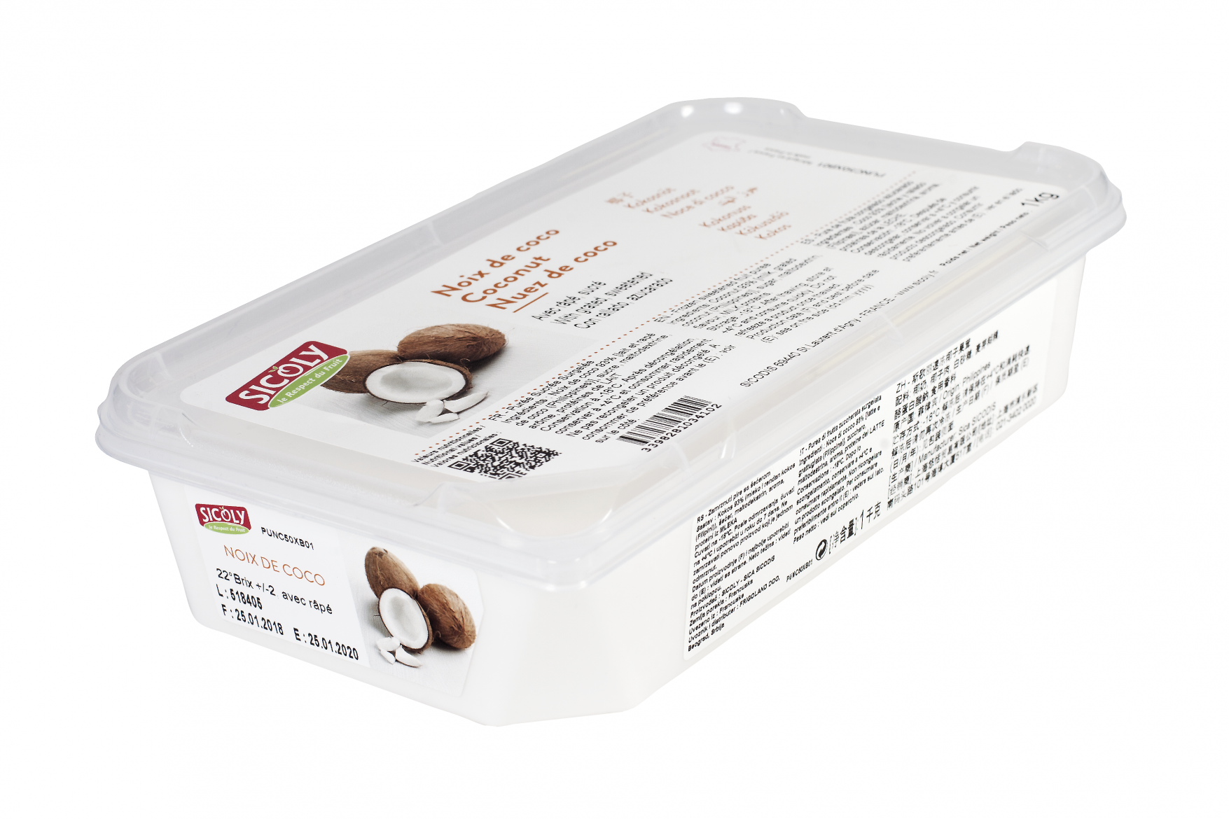 Sicoly product image No added sugar frozen coconut milk with grated coconut