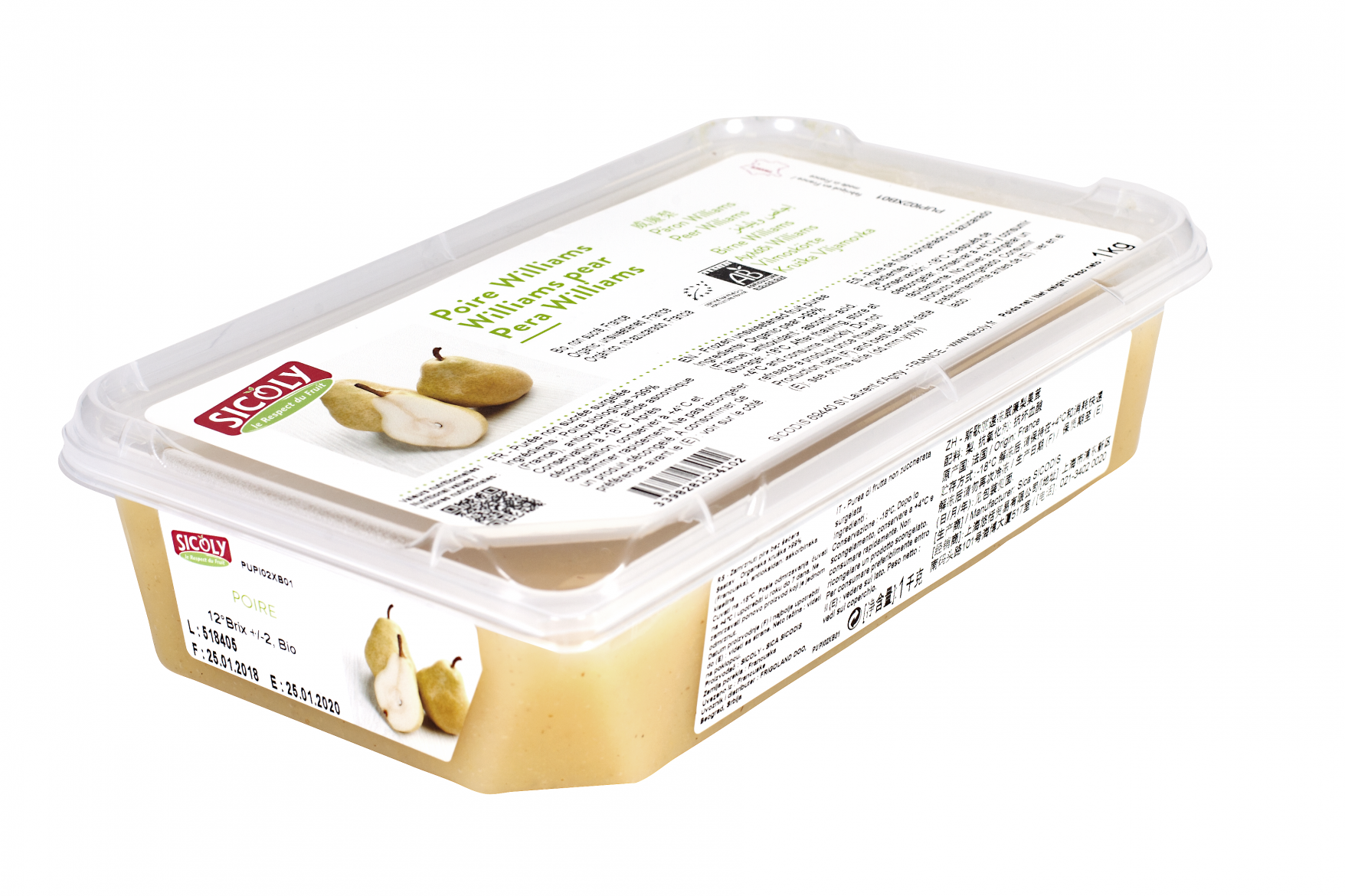 Sicoly product image No added sugar frozen Williams pear purée - France