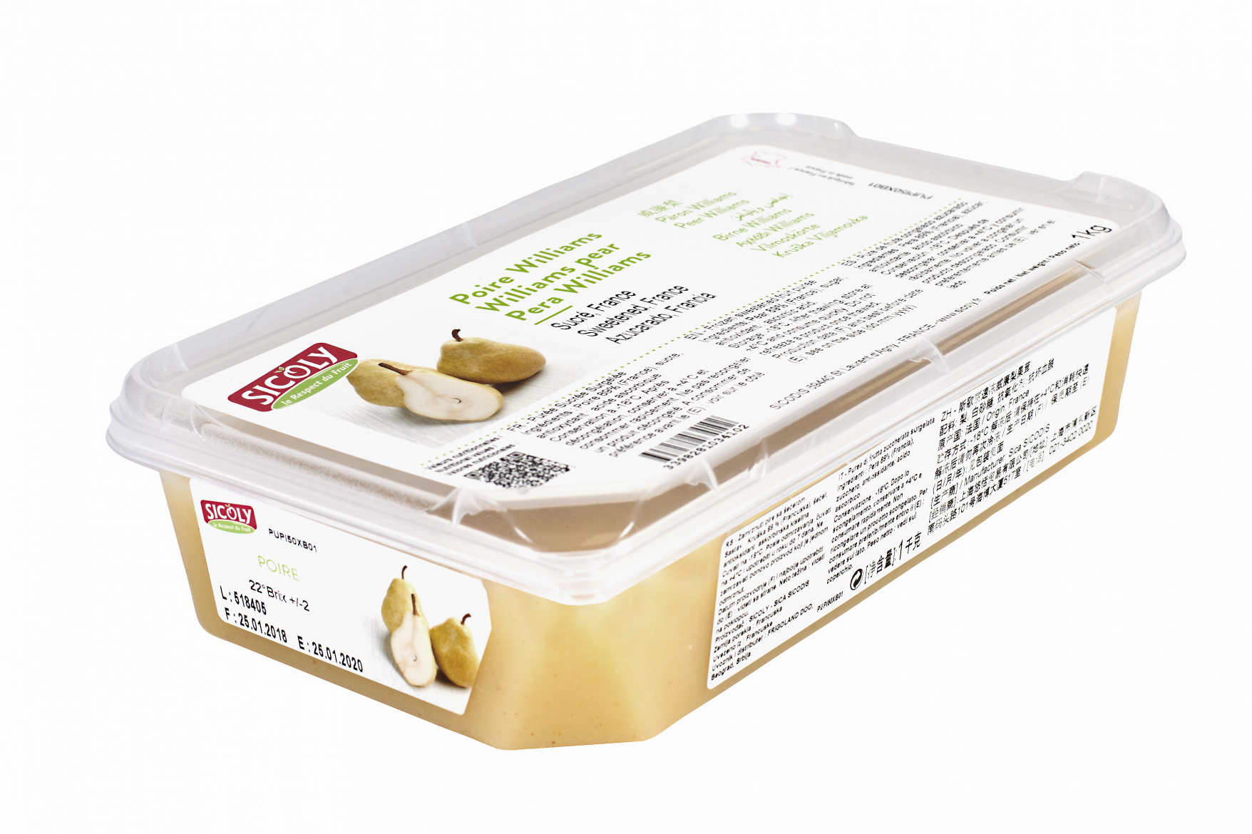 Sicoly product image Frozen Williams pear purée