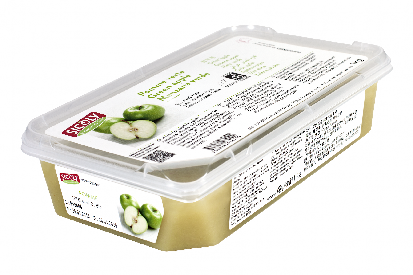 Frozen Organic green apple purée - France