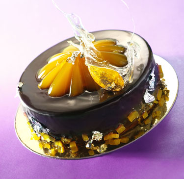 Mandarin chocolate delight 3 entremets of 18 cm with 4,5 cm decoration inserts Jean-Jacques BORNE